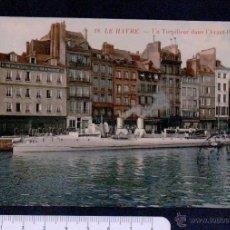Postales: 18.LE HAVRE.UN TORPILLEUR DANS I´AVANT-PORT.CIRCULADA EN 1908.. Lote 46781592