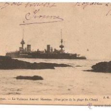 Postales: ANTIGUA POSTAL 1908 CON SELLO EN REVERSO VISITAR. LE VAISSEAU AMIRAL MASSÉNA VUE PRISE DE LA DU CHAY. Lote 47380798