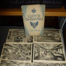 Postales: LLOYD SABAUDO, CONTE GRANDE, CARPETILLA CON 6 POSTALES DE DEPENDENCIAS DEL BARCO. Lote 55121155