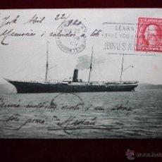 Postales: ANTIGUA POSTAL DEL VAPOR DE LA TRANSATLANTICA CIUDAD DE CADIZ. ESLORA 106'68 M. CIRCULADA. Lote 48428548