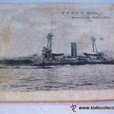 Postales: POSTAL DE ACORAZADO TIPO - ALFONSO XIII - S.E. DE CONSTRUCCION NAVAL. FERROL. AÑOS 20,.. Lote 48963903