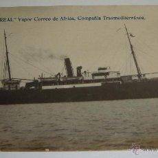 Postales: ANTIGUA FOTO POSTAL. VAPOR VILLAREAL (VAPOR CORREO AFRICA). COMPAÑÍA TRANSMEDITERRANEA ESPAÑOLA.. Lote 49098757