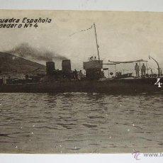 Postales: ANTIGUA FOTO POSTAL. ESCUADRA ESPAÑOLA. TORPEDERO Nº 4 (MUY DIFÍCIL). Lote 49335582
