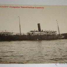Postales: ANTIGUA FOTO POSTAL. COMPAÑÍA TRASTLANTICA ESPAÑOLA. VAPOR LEGAZPI.. Lote 49571820