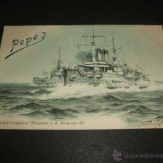 Postales: CRUCEROS DE GUERRA RUSIA ALEJANDRO II Y ALEJANDRO III POSTAL ANTERIOR A 1905. Lote 49678036