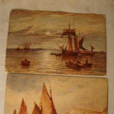Postales: 2 ANTIGUAS TARJETAS POSTALES ORIGINALES BARCO BARCOS CA.1920. Lote 49960605
