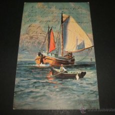 Postales: BARCO Y BARCA POSTAL 1906. Lote 50343771