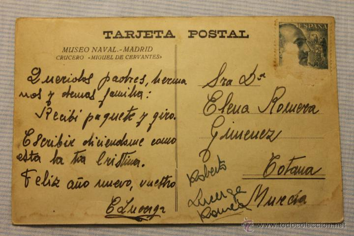 Postales: TARJETA POSTAL CRUCERO MIGUEL DE CERVANTES, MUSEO NAVAL, MADRID, DESTINO TOTANA - Foto 2 - 50673793