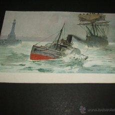 Postales: REMOLCADOR Y BARCO POSTAL ANTERIOR A 1905. Lote 50999701