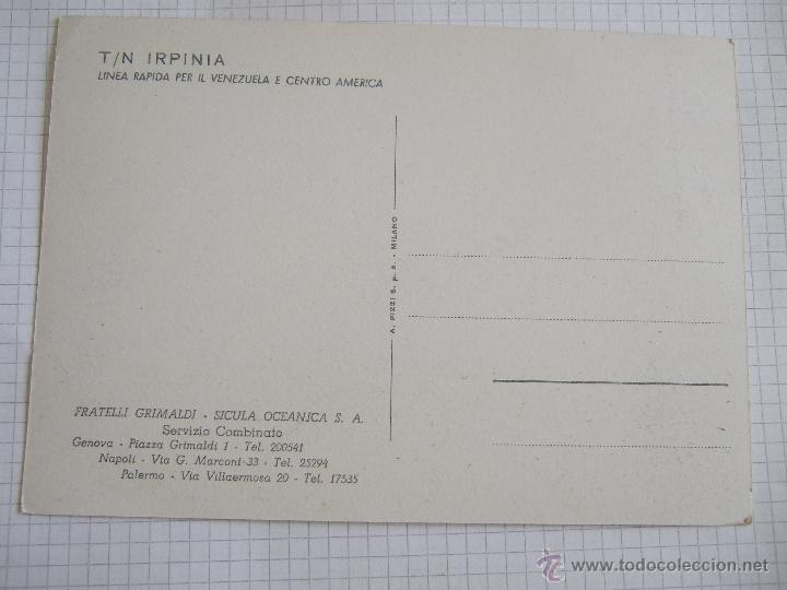 Postales: POSTAL BARCO - IRPINIA - LINEA VENEZUELA Y CENTRO AMERICA - SIN CICULAR - Foto 2 - 175294250