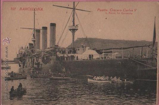 POSTAL PUERTO DE BARCELONA - DEL BARCO CRUCERO CARLOS V -Nº 101 DE ROISIN (Postales - Postales Temáticas - Barcos)