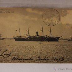 Postales: MARINA MERCANTE ESPAÑOLA. COMPAÑÍA TRASATLÁNTICA. VAPOR ALFONSO XIII. CIRCULADA EN 1906. REVERSO SIN. Lote 51495481