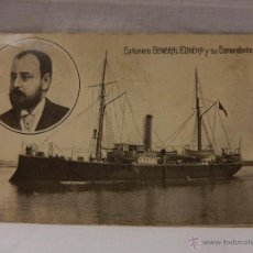 Postales: MARINA GUERRA ESPAÑOLA. CAÑONERO GENERAL CONCHA Y SU COMANDANTE. CIRCULADA EN 1914. BARCO. BARCOS. . Lote 51496110