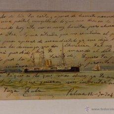 Postales: RIACHUELO. BRASIL. CIRCULADA 1904. REVERSO SIN DIVIDIR. ACORAZADO. CRUCERO. FRAGATA. BUQUE. BUQUES. . Lote 51572843