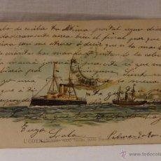 Postales: L`ODEN. SUECIA. CIRCULADA 1904. REVERSO SIN DIVIDIR. ACORAZADO. CRUCERO. FRAGATA. BUQUE. BUQUES. MAR. Lote 51573200