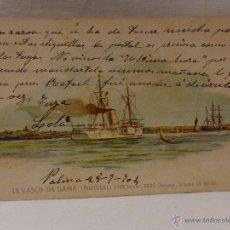Postales: LE VASCO DA GAMA. PORTUGAL. CIRCULADA 1904. REVERSO SIN DIVIDIR. ACORAZADO. CRUCERO. FRAGATA. BUQUE.. Lote 51573241