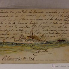 Postales: K. WILHELMINA D. NED. HOLANDA. CIRCULADA 1904. REVERSO SIN DIVIDIR. ACORAZADO. CRUCERO. FRAGATA. BUQ. Lote 51573334