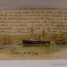 Postales: PELAYO ¿. ESPAÑA. CIRCULADA 1904. REVERSO SIN DIVIDIR. ACORAZADO. CRUCERO. FRAGATA. BUQUE. BUQUES. M. Lote 51573423