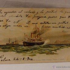 Postales: EL ITALIA. ITALIA. CIRCULADA 1904. REVERSO SIN DIVIDIR. ACORAZADO. CRUCERO. FRAGATA. BUQUE. BUQUES. . Lote 51573446