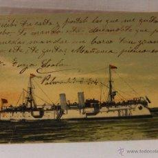 Postales: MARINA DE GUERRA ESPAÑOLA. FERROL. CRUCERO DE 2ª. RIO DE LA PLATA. CIRCULADA 1904. REVERSO SIN DIVID. Lote 51573507