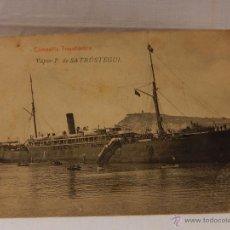 Postales: COMPAÑÍA TRASANTLÁNTICA. VAPOR P. DE SATRÚSTEGUI. CIRCULADA 1908. BARCO. BUQUE.BARCOS. BUQUES. Lote 51573566
