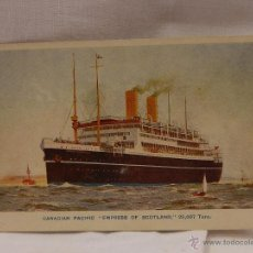 Postales: CANADIAN PACIFIC. EMPRESS OF SCOTLAND. F.H. HAINES & SONS- LTD. BARCO BARCOS BUQUE BUQUES MARINA. Lote 51634333