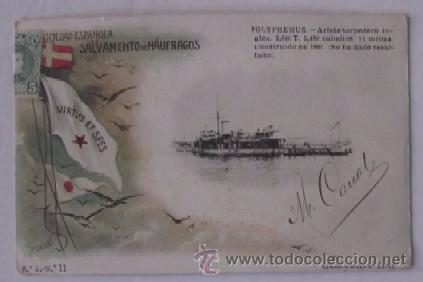 POLYPHEMUS - SOCIEDAD ESPAÑOLA DE SALVAMENTO DE NAUFRAGOS - AÑO 1903 (Postales - Postales Temáticas - Barcos)