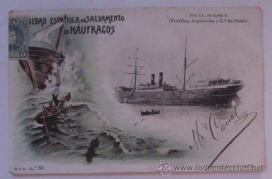 PIO IX - SOCIEDAD ESPAÑOLA DE NAUFRAGOS - AÑO 1903 (Postales - Postales Temáticas - Barcos)