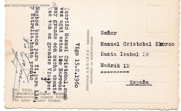 Postales: P- 2610. POSTAL TRANSATLANTICO CASTEL VERDE. VIGO. AÑOS 60. - Foto 2 - 51638963