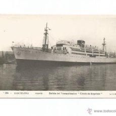 Postales: TRANSATLANTICO CONDE DE ARGELEJO BARCELONA EDICIÓN JVB POSTAL. Lote 51915874