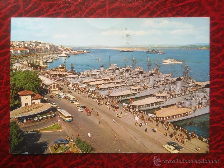 POSTAL SANTANDER LA BAHIA BARCOS ARMADA SEMANA NAVAL CIRCULADA (Postales - Postales Temáticas - Barcos)