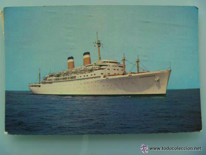POSTAL DEL SS INDEPENDENCE , DE LA AMERICAN EXPORT ISBRANDTSEN LINES . CIRCULADA . (Postales - Postales Temáticas - Barcos)