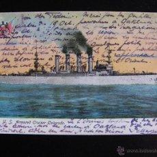 Postales: POSTAL DEL CRUCERO DE GUERRA U.S. ARMORED CRUISER COLORADO.. Lote 54227680