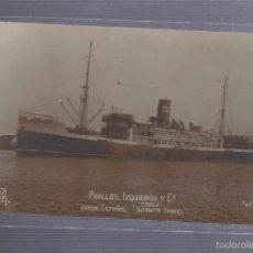 Postales: TARJETA POSTAL FOTOGRAFICA. PINILLOS IZQUIERDO. CADIZ. VAPOR ESPAÑOL INFANTA ISABEL. FOTO J.BURGOS. Lote 56932136