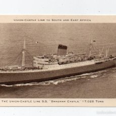 Postales: THE UNION CASTLE LINE SS BRAEMAR CASTLE UNION CASTLE LINETO SOUTH AND EAST AFRICA. Lote 58138447
