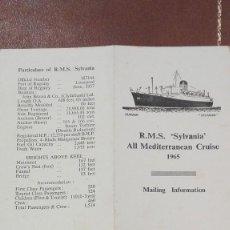 Postales: POSTAL DEL BARCO SYLVANIA DE CUNARD Y CRUCEROS EN EL MEDITERRANEO DE 1965.. Lote 60009391