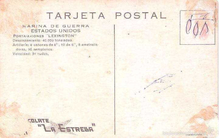 Postales: MARINA DE GUERRA ESTADOS UNIDOS. PORTA-AVIONES LEXINGTON. - Foto 2 - 60701959