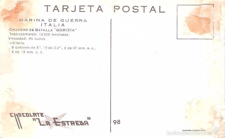 Postales: MARINA DE GUERRA ITALIA. CRUCERO DE BATALLA GORIZIA. - Foto 2 - 60728411