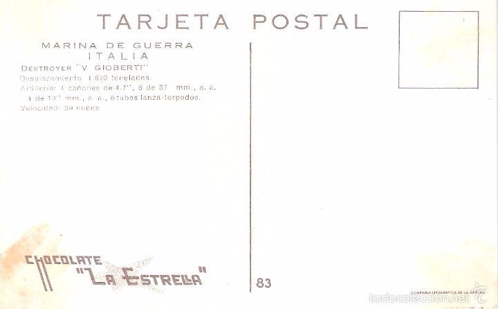 Postales: MARINA DE GUERRA ITALIA. DESTROYER V GIOBERTI. - Foto 2 - 60728475