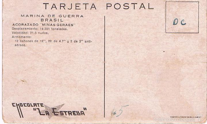 Postales: MARINA DE GUERRA BRASIL. ACORAZADO MINAS GERAES. - Foto 2 - 60943779