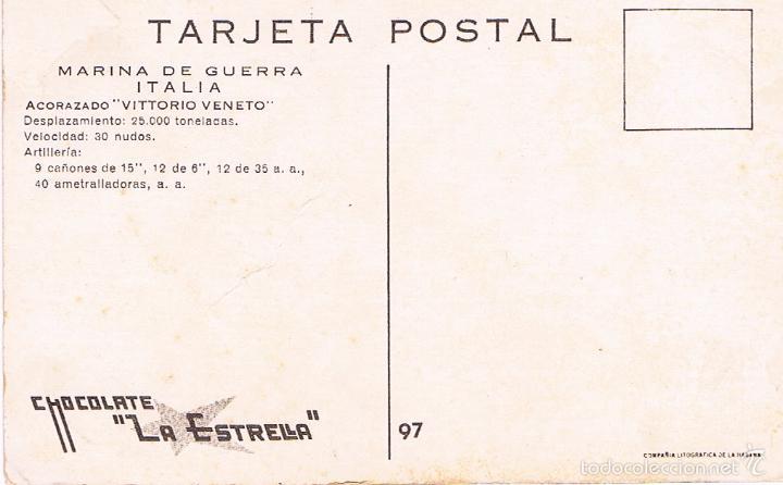 Postales: MARINA DE GUERRA ITALIA. ACORAZADO VITTORIO VENETO. - Foto 2 - 60958491
