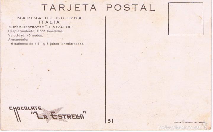 Postales: MARINA DE GUERRA ITALIA. SUPER DESTROYER U. VIVALDI. - Foto 2 - 61034595