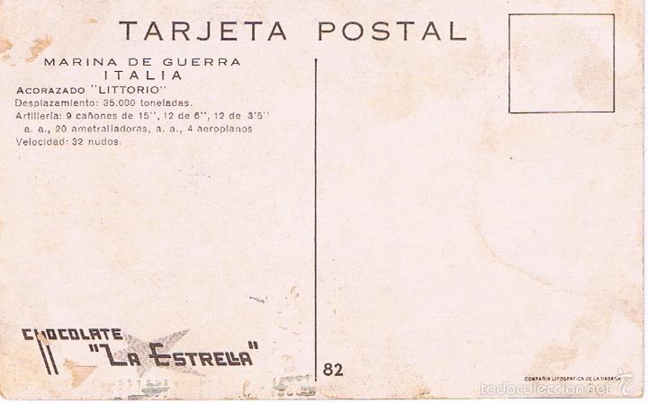 Postales: MARINA DE GUERRA ITALIA. ACORAZADO LITTORIO. - Foto 2 - 61034775