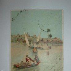 Postales: FOTO, POSTAL ESCENA MARINA CON BARCOS Y PUEBLO AL FONDO. CIRCULADA 1909. Lote 61145623