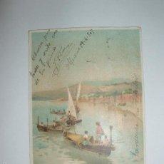 Postales: FOTO, POSTAL ESCENA MARINA CON BARCOS Y MONTAÑAS AL FONDO. CIRCULADA 1907. Lote 61145683
