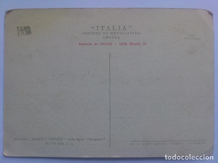 Postales: POSTAL MOTONAVE AMERIGO VESPUCCI, ITALIA - SOCIEDAD DE NAVEGACION GENOVA - Foto 2 - 66091162