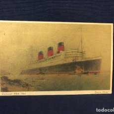 Postales: POSTAL CUNARD WHITE STAR QUEEN MARY PAQUEBOT MANCHE DORADA. Lote 68020241