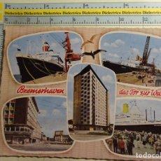 Postales: POSTAL DE BARCOS NAVIERAS. AÑOS 50 BUQUES EN EL PUERTO DE BREMEN: AMERICA, BERLIN, BREMEN. 173. Lote 75141939
