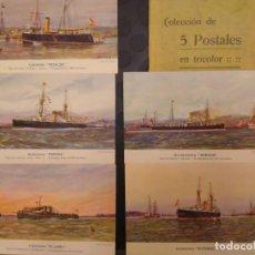 Postales: ESCUADRA ESPAÑOLA SOBRE 5 POSTALES ACORAZADOS ESPAÑA ALFONSO XIII, TORPEDERO VILLAMIL .. BARCO BUQUE. Lote 77875765
