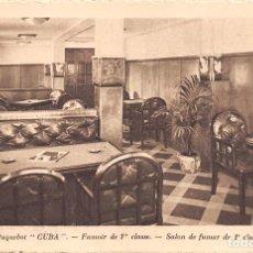Postales: PAQUEBOT CUBA.- SALON DE FUMAR DE 1ª CLASE. Lote 78830813